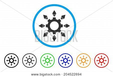 Ethereum Configuration Gear icon. Vector illustration style is a flat iconic ethereum configuration gear gray rounded symbol inside light blue circle with black, gray, green, blue, red,