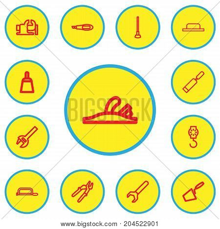 Set Of 13 Editable Apparatus Outline Icons. Includes Symbols Such As Nippers, Knife Box, Trowel And More