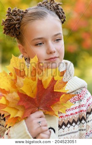 Portrait of cute little girl resting in autumnal park