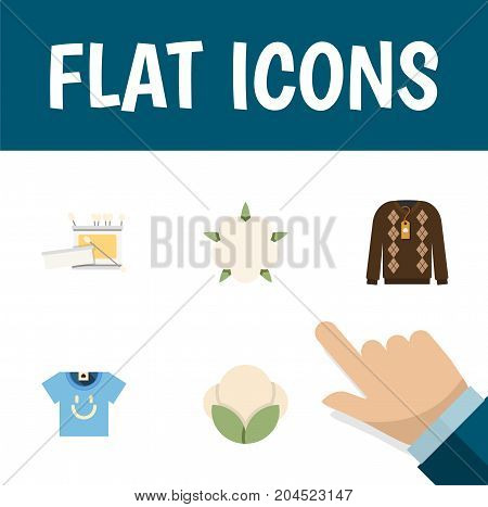 Flat Icon Fiber Set Of Bud, Pullover, Knitting And Other Vector Objects