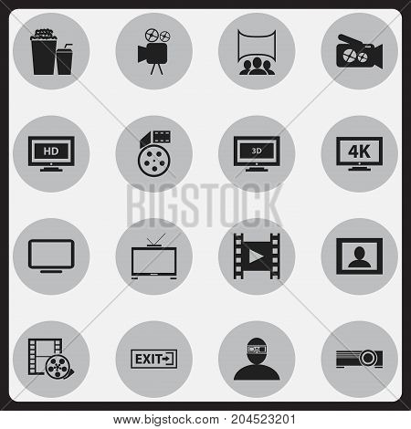 Set Of 16 Editable Cinema Icons. Includes Symbols Such As Drink, Hd Television, Screen And More