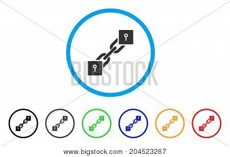 Locker Blockchain icon. Vector illustration style is a flat iconic locker blockchain gray rounded symbol inside light blue circle with black, gray, green, blue, red, orange color versions.