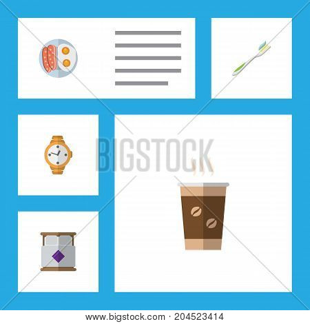 Flat Icon Lifestyle Set Of Dental, Mattress, Timer And Other Vector Objects