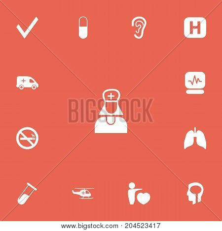 Set Of 13 Editable Hospital Icons. Includes Symbols Such As Human Love, Medical Aviation, Test Tube And More