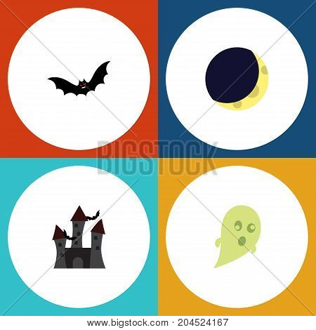 Flat Icon Halloween Set Of Fortress, Crescent, Superstition And Other Vector Objects