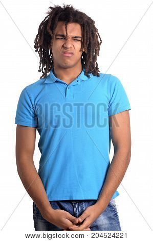 African american young man in blue t-shirt posing on white background