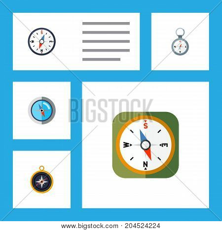 Flat Icon Orientation Set Of Direction, Compass, Divider And Other Vector Objects
