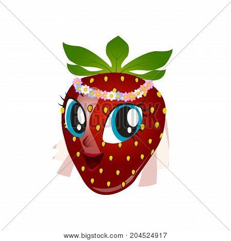 Cartoon strawberry giving thumbs up on a white background.