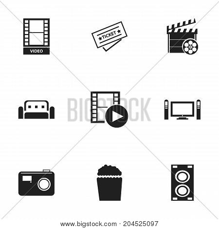 Set Of 9 Editable Filming Icons. Includes Symbols Such As Megaphone, Ticket, Movie Action And More