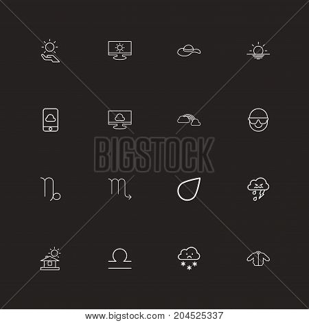Set Of 16 Editable Climate Outline Icons. Includes Symbols Such As Sunglasses, Fishes, Monitor And More