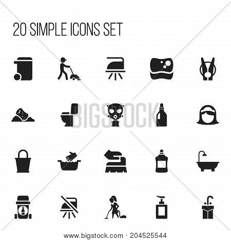 Set Of 20 Editable Cleanup Icons. Includes Symbols Such As Notice, Housekeeper, Respirator And More
