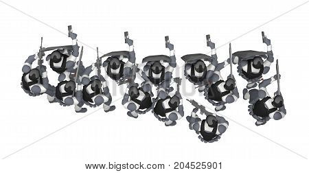 group swat with shields top view isolated on white. 3d rendering