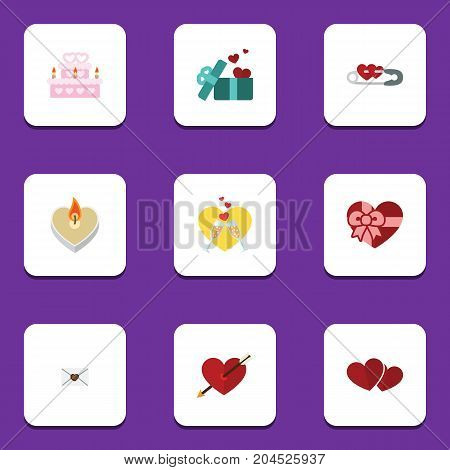 Flat Icon Amour Set Of Heart, Present, Patisserie And Other Vector Objects
