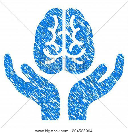 Grunge Brain Care Hands icon with grunge design and dirty texture. Unclean vector blue pictogram for rubber seal stamp imitations and watermarks. Draft emblem symbol.