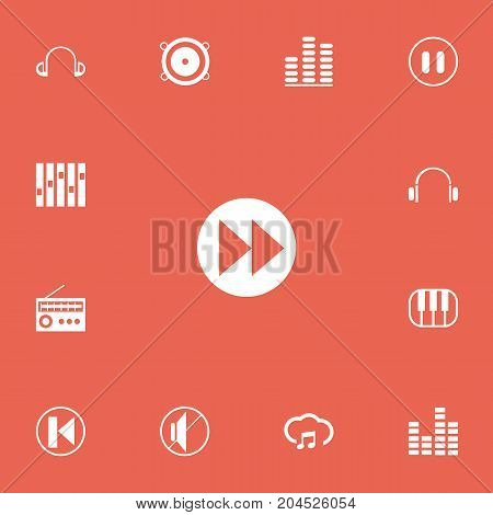 Set Of 13 Editable Media Icons. Includes Symbols Such As Previous, Frequency, Bass Speakers And More