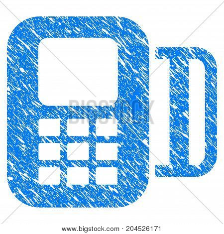 Grunge Card Terminal icon with grunge design and dirty texture. Unclean vector blue pictogram for rubber seal stamp imitations and watermarks. Draft sign symbol.