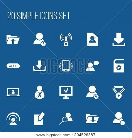 Set Of 20 Editable Web Icons. Includes Symbols Such As Computer, Account, Magnifier And More