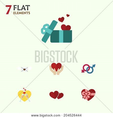 Flat Icon Love Set Of Celebration, Gift, Sexuality Symbol And Other Vector Objects