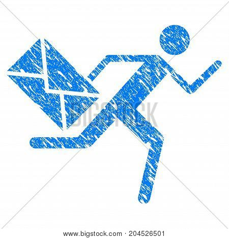 Grunge Courier icon with grunge design and dirty texture. Unclean vector blue pictogram for rubber seal stamp imitations and watermarks. Draft emblem symbol.