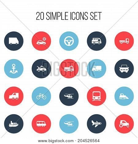 Set Of 20 Editable Shipment Icons. Includes Symbols Such As Shipping, Lorry, Drive Control And More