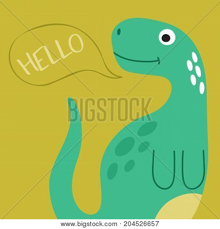 Cute cartoon dino illustration with hello speech booble