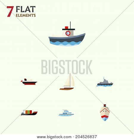 Flat Icon Vessel Set Of Cargo, Delivery, Yacht And Other Vector Objects