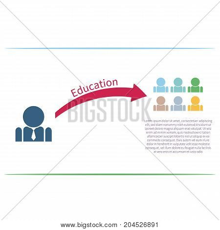 Vector colorful infographic template with businessman pictogram. Business concept in flat style.