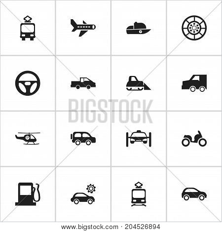 Set Of 16 Editable Transport Icons. Includes Symbols Such As Helicopter, Cable Railway, Tractor And More