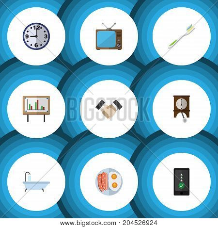 Flat Icon Life Set Of Watch, Whiteboard, Cellphone And Other Vector Objects