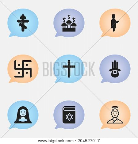 Set Of 9 Editable Dyne Icons. Includes Symbols Such As Religious Sewn, Crucifix, Religious Sign And More