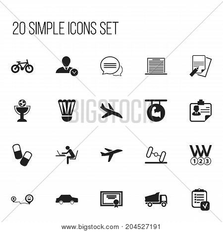 Set Of 20 Editable Mixed Icons. Includes Symbols Such As Drug, Dumbbell, Car And More