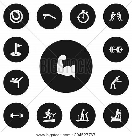 Set Of 13 Editable Healthy Icons. Includes Symbols Such As Stopwatch, Executing Running, Physical Education And More