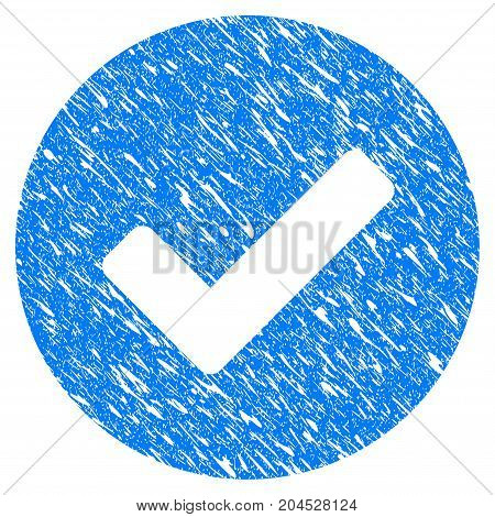 Grunge Yes icon with grunge design and unclean texture. Unclean vector blue pictogram for rubber seal stamp imitations and watermarks. Draft sticker symbol.