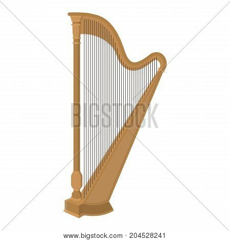 Vector illustration of the musical instrument - the harp on white isolated background.