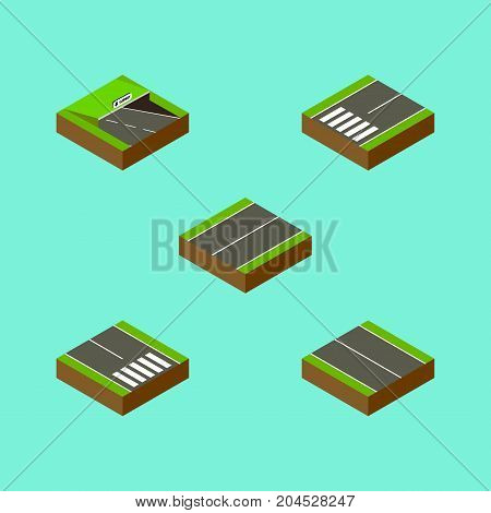 Isometric Road Set Of Underground, Pedestrian, Plane And Other Vector Objects