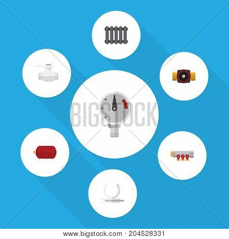 Flat Icon Plumbing Set Of Pipework, Tap, Container And Other Vector Objects