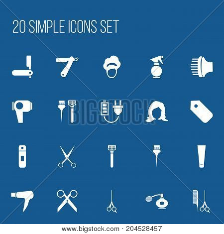 Set Of 20 Editable Barber Icons. Includes Symbols Such As Scissors With Comb, Razor, Plug And More