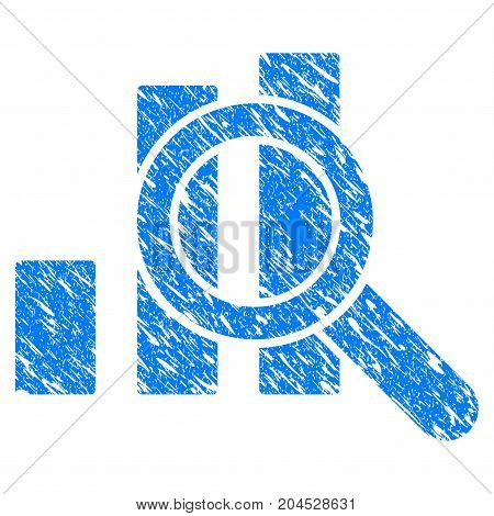 Grunge Explore Graphics icon with grunge design and scratched texture. Unclean vector blue pictogram for rubber seal stamp imitations and watermarks. Draft sign symbol.