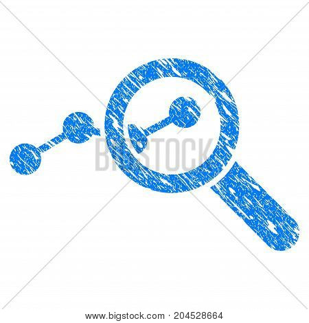 Grunge Explore Stats icon with grunge design and dust texture. Unclean vector blue pictogram for rubber seal stamp imitations and watermarks. Draft emblem symbol.