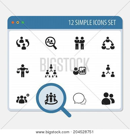 Set Of 12 Editable Business Icons. Includes Symbols Such As Staff Structure, Conversation, Friendship And More