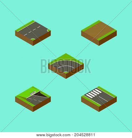 Isometric Road Set Of Bitumen, Strip, Underground And Other Vector Objects