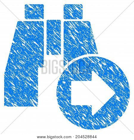 Grunge Find Next Binoculars icon with grunge design and dust texture. Unclean vector blue pictogram for rubber seal stamp imitations and watermarks. Draft sticker symbol.