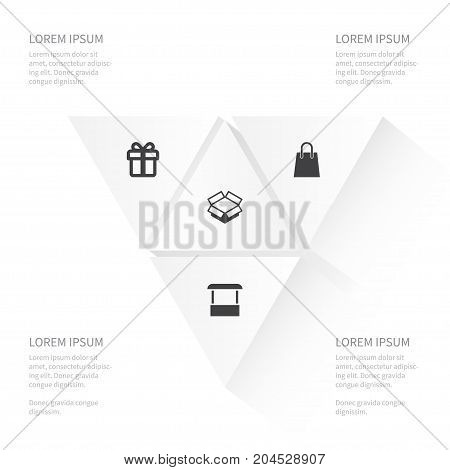 Icon Magazine Set Of Shop, Giftbox, Carton And Other Vector Objects
