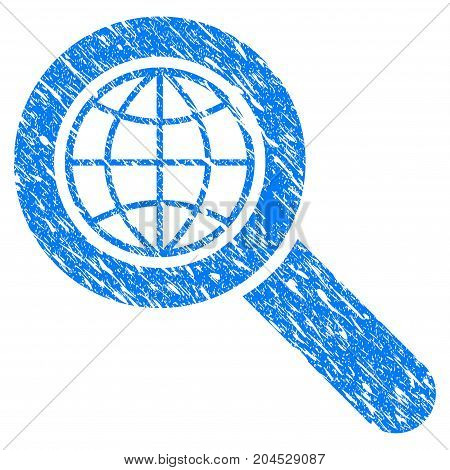 Grunge Global Search icon with grunge design and dust texture. Unclean vector blue pictogram for rubber seal stamp imitations and watermarks. Draft sticker symbol.