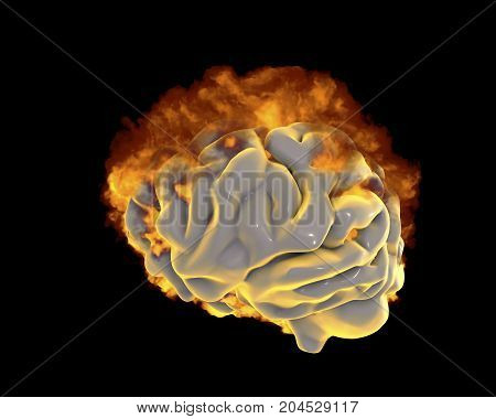 Brain in fire, conceptual image for psychological burnout, 3D illustration