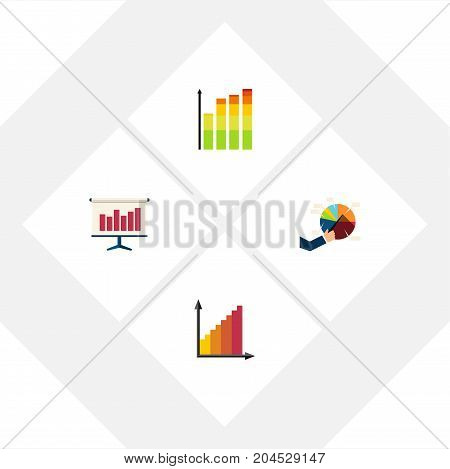 Flat Icon Diagram Set Of Monitoring, Statistic, Segment And Other Vector Objects