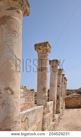 A row of Columns from the ancient ruins at Mandria Cyprus