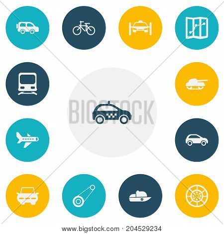 Set Of 13 Editable Shipment Icons. Includes Symbols Such As Automobile, Weapon, City Drive And More