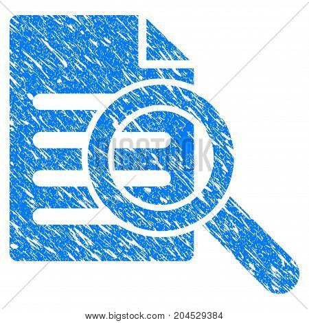 Grunge Search Document icon with grunge design and dirty texture. Unclean vector blue pictogram for rubber seal stamp imitations and watermarks. Draft sign symbol.