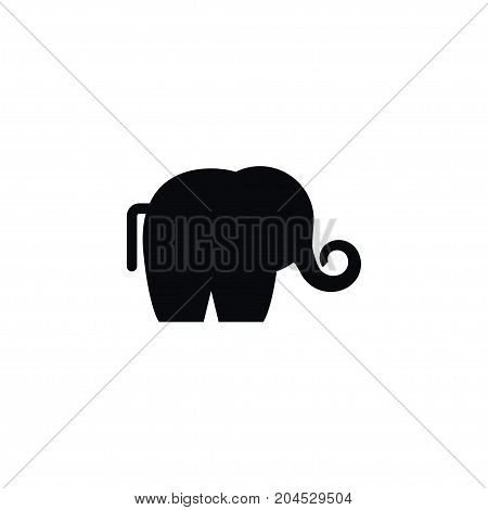 Trunked Animal Vector Element Can Be Used For Ivory, Elephant, Trunked Design Concept.  Isolated Ivory Icon.